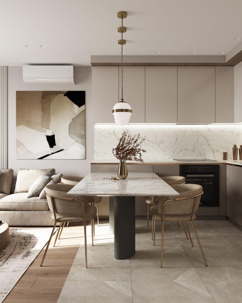 Đơn vị thiết kế thi công nội thất với gam trắng chủ đạo khiến không gian dự án sang trọng và hiện đại