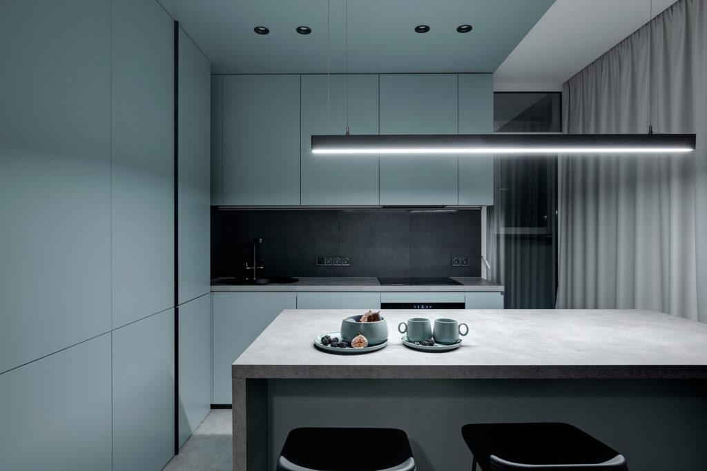 Góc bếp được sang trọng và ấn tượng với màu xanh