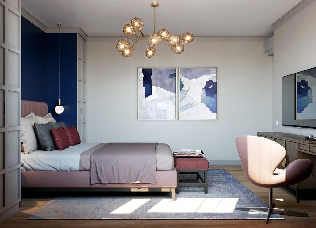 Phòng ngủ ấn tượng với những bức tranh độc đáo