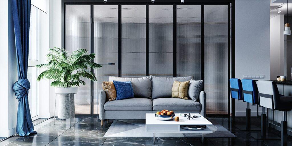 Thiết kế căn hộ xanh dương ấn tượng