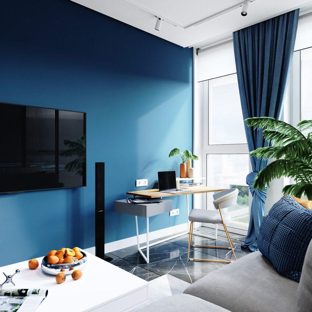 Sơn màu xanh dương được sử dụng cho tone màu chính của cả căn hộ