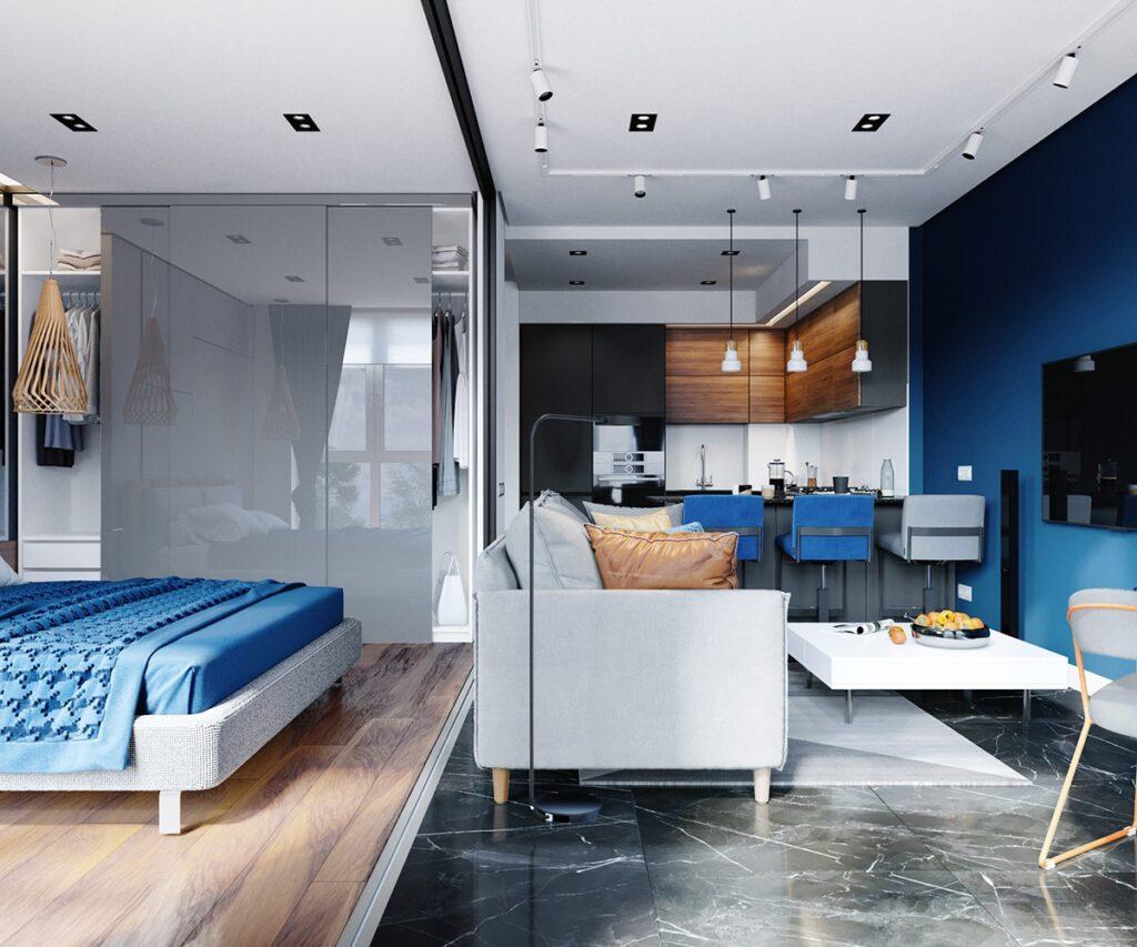 Xanh dương được dùng làm tone màu chủ đạo cho cả căn hộ và các vật dụng trang trí