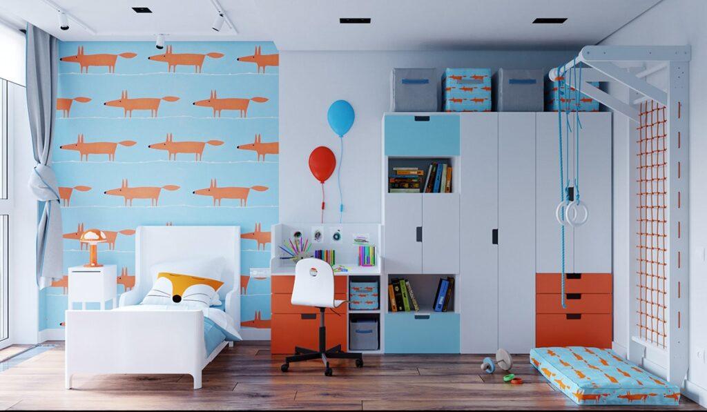 Vẫn dùng tone màu xanh sáng kết hợp với cam dành cho phòng riêng của bé