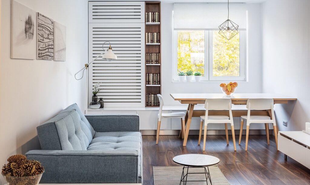 Các thiết kế mở giúp cho không gian căn hộ một phòng ngủ rộng hơn và lấy được nhiều ánh sáng tự nhiên hơn