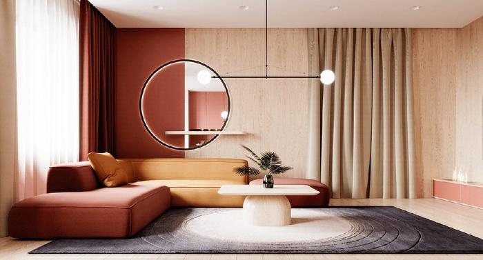 Căn hộ chung cư có tone màu cam đỏ