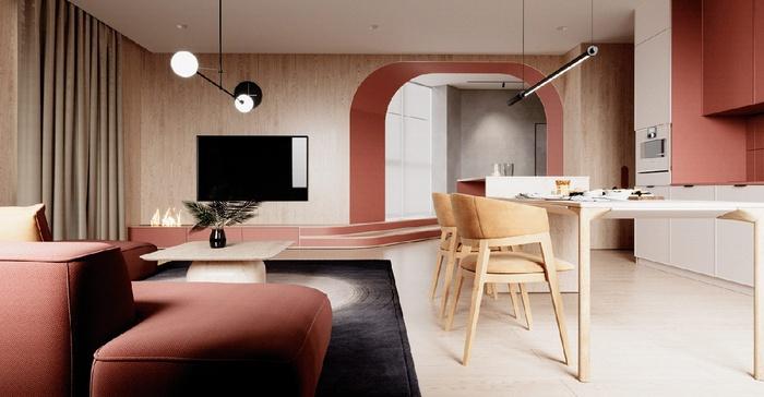 Phòng khách và phòng bếp được liên thông giúp căn hộ chung cư rộng hơn