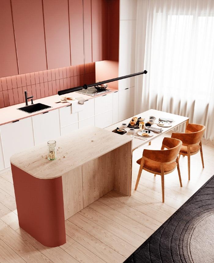 Thiết kế bếp nối liền với bàn ăn trong căn hộ chung cư tone cam đỏ
