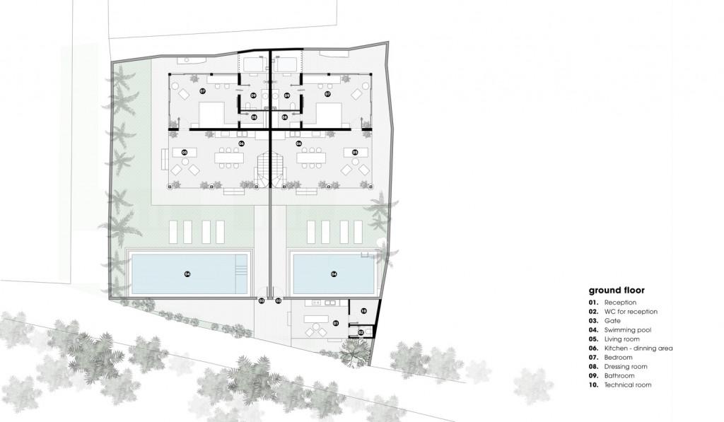 Ảnh cắt mặt bằng của thiết kế ngôi biệt thự gỗ ven sông Hội An