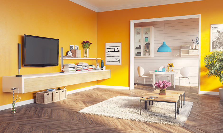 Dùng sơn màu vàng cho phòng khách của các gia chủ mệnh Thổ
