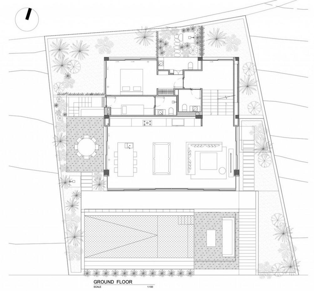 Bản vẽ mặt bằng của căn biệt thự Timber House