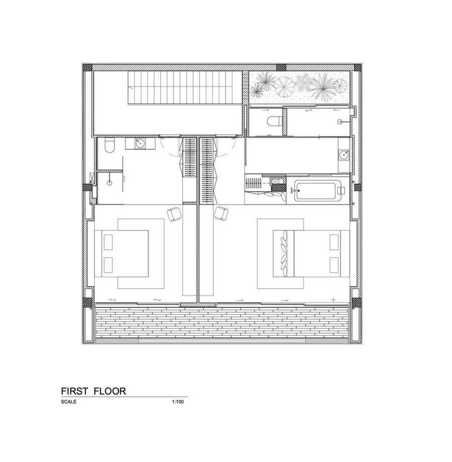Bản vẽ kỹ thuật tần 1 của căn biệt thự gỗ