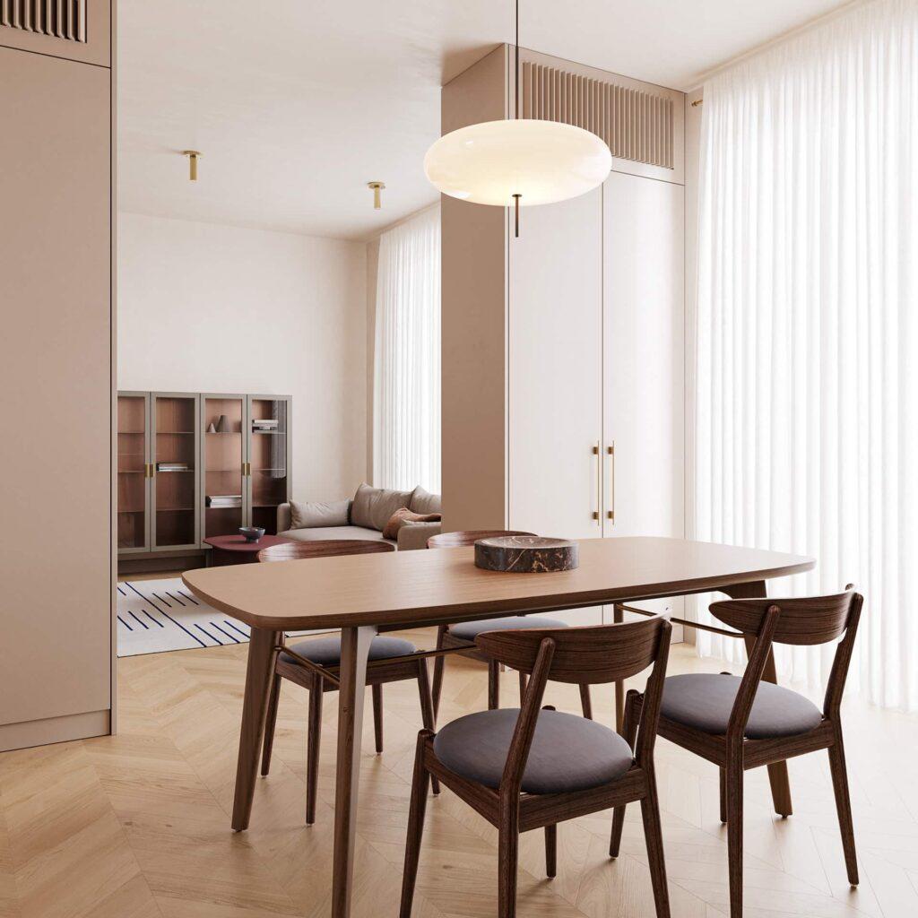 Bàn ăn và không gian phòng khách được ngăn nhau bởi tủ kệ