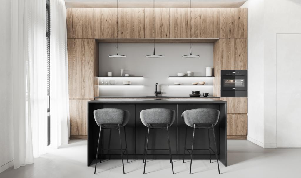 Sử dụng bộ bàn ăn màu đen trên phông nền trắng tạo ra điểm nổi bật trong thiết kế nội thất phòng ăn, và đây có thể là một ý tưởng không thể bỏ qua cho bếp ăn đẹp.