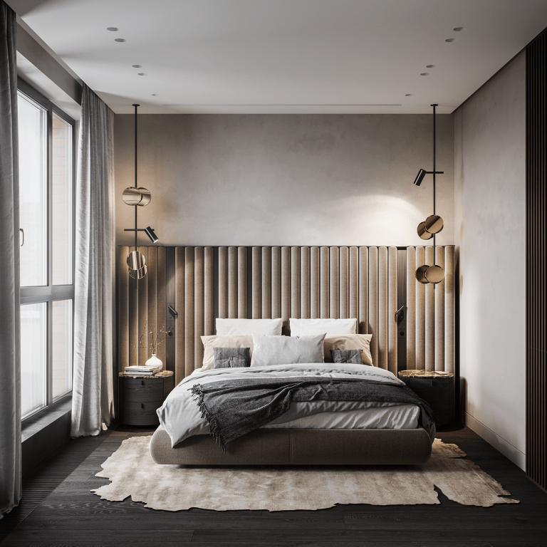 Chiếc đèn vàng đồng tạo điểm nhấn hoàn hảo cho phòng ngủ thêm sang trọng.
