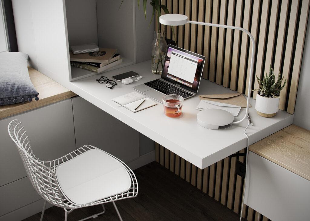 Khu vực làm việc đơn giản giúp tối ưu không gian cho căn hộ