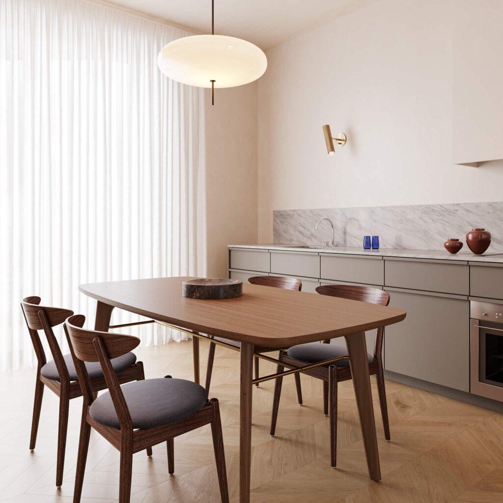 Khu vực bếp sử dụng nội thất gỗ cao cấp sang trọng