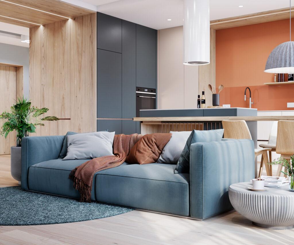 Phòng khách nhà anh Tú trở nên năng động hơn với thiết kế nội thất pha trộn các gam màu phù hợp.