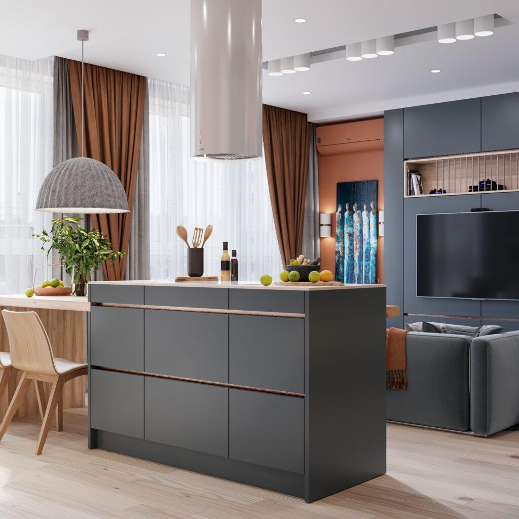 Thiết kế nội thất của bếp ăn tạo cho gia đình cảm giác năng động.