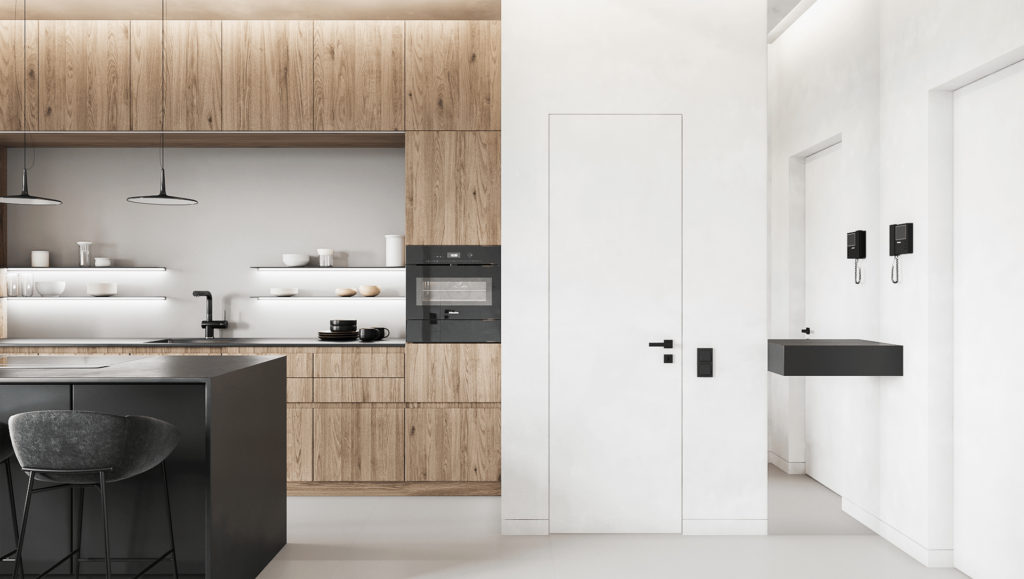 Phòng bếp cùng hệ thống tủ cùng tone mang lại vẻ sang trọng cho căn hộ