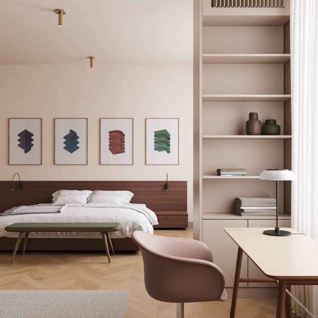 Phòng ngủ được thiết kế với tone màu nhẹ nhàng, tinh tế