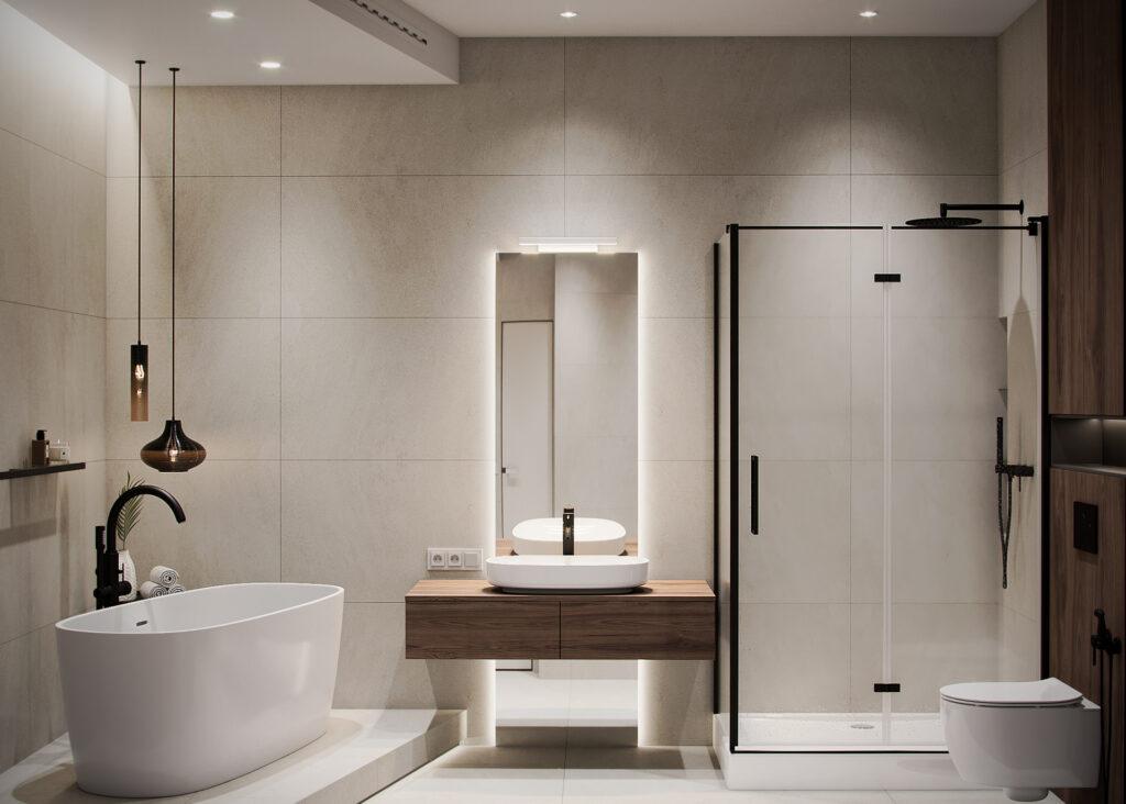 Phòng tắm nhà anh Phong chỉ sử dụng tone màu trắng và gỗ