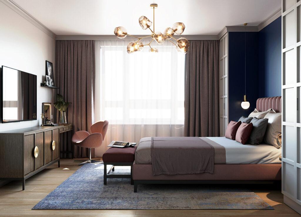 Thiết kế độc đáo của đèn chùm trong căn phòng ngủ