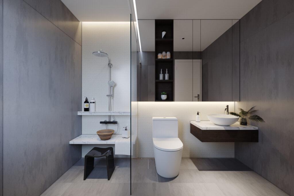 Thiết kế nhà vệ sinh trong phòng ngủ hợp phong thủy
