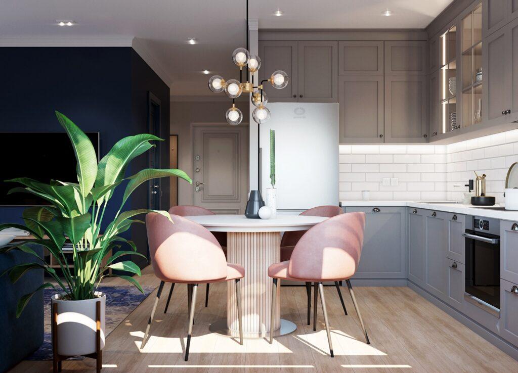 Thiết kế nội thất căn hộ sử dụng nhiều tone màu tương phản