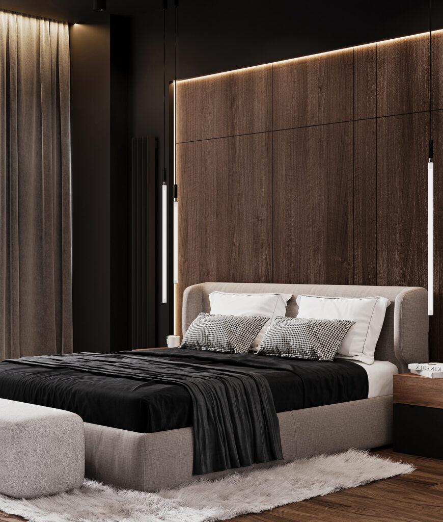 Tone màu đen và nội thất gỗ khiến không gian căn biệt thự sang trọng hơn