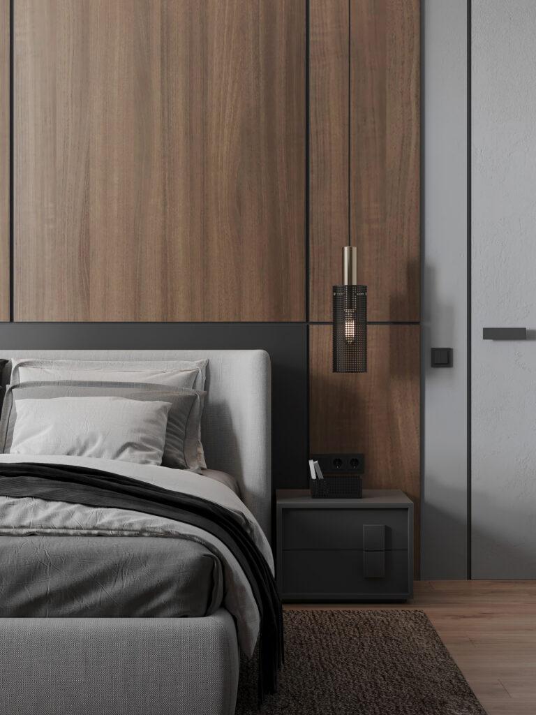 Biệt thự có phòng ngủ được thiết kế với tone màu xám sẽ tăng thêm sự ấm áp và tinh tế