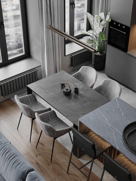 Trang trí phòng bếp bằng tông màu sáng, tạo cảm giác sạch sẽ và gọn gàng hơn