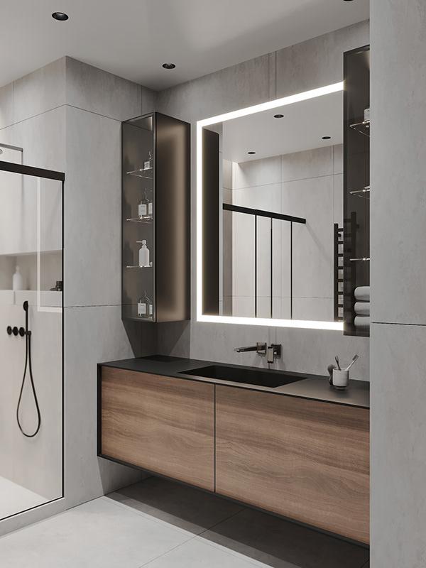 Nhà tắm Tone xám mang đến nét hiện đại
