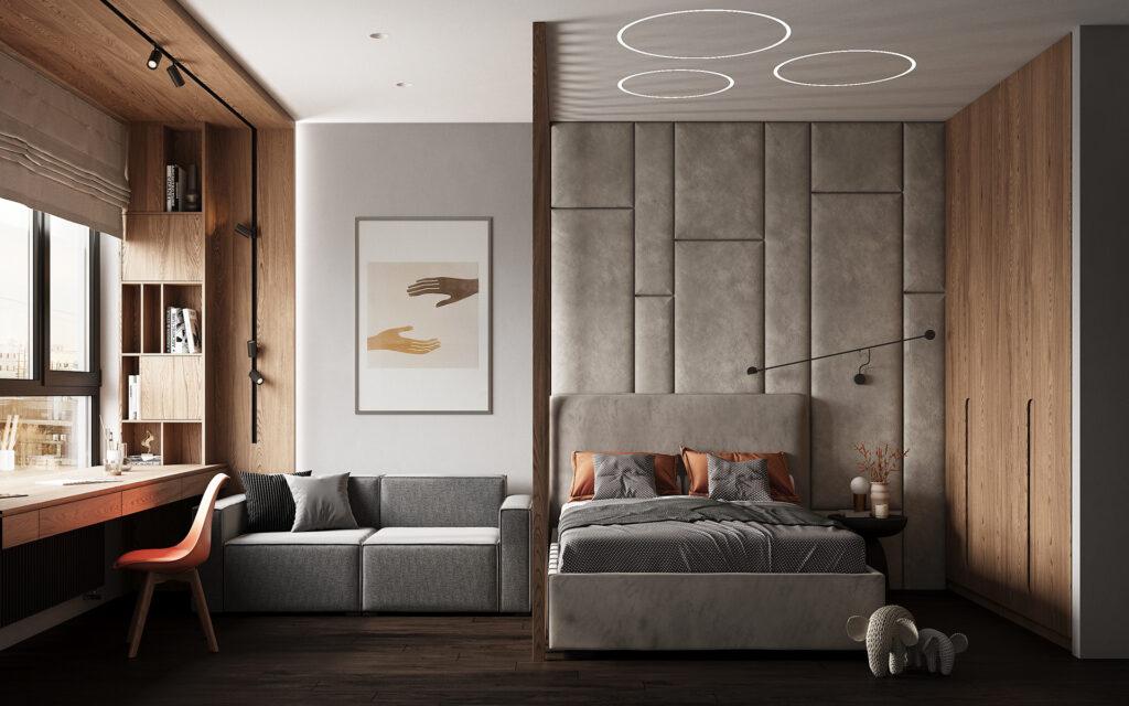 Nội thất màu cam ấn tượng chính là điểm nhấn nổi bật cho không gian phòng ngủ căn biệt thự