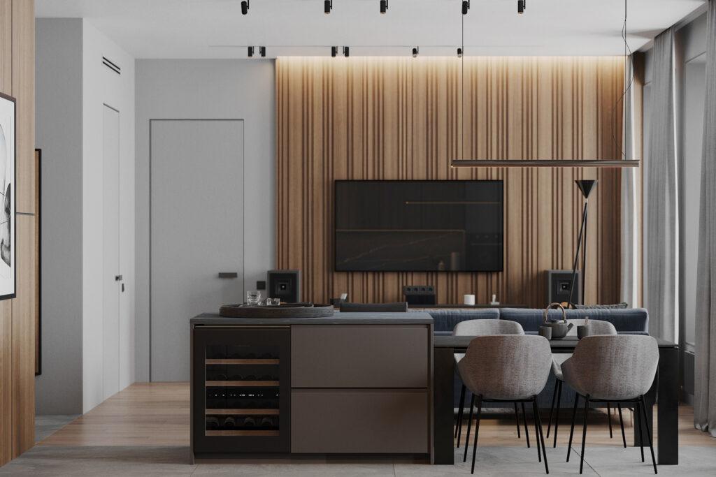 Chất liệu gỗ được kết hợp khéo léo trên nền xám