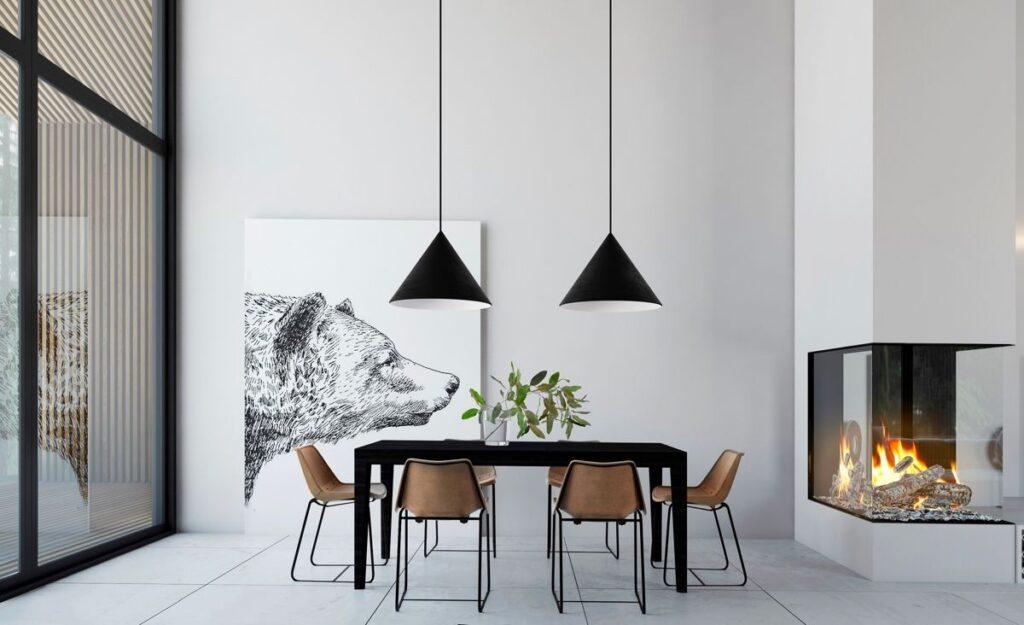 Chỉ với một tone màu trắng chủ đạo cùng bộ bàn ghế đen - nâu đối lập đã tạo nên một căn phòng ăn đơn giản nhưng hiện đại