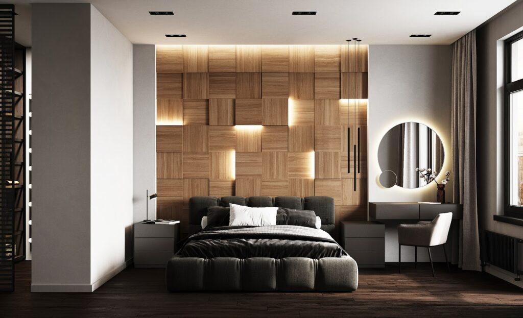 Thiết kế căn phòng ngủ độc đáo từ bức tường gỗ đầy sáng tạo trong căn biệt thự