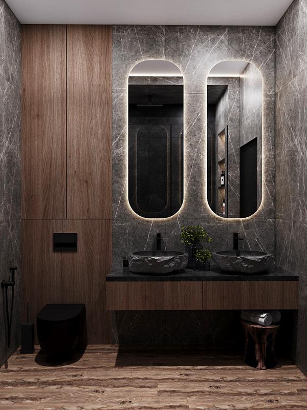 Khu vực nhà tắm được trau chuốc khá tỉ mỉ với các thiết kế độc lạ
