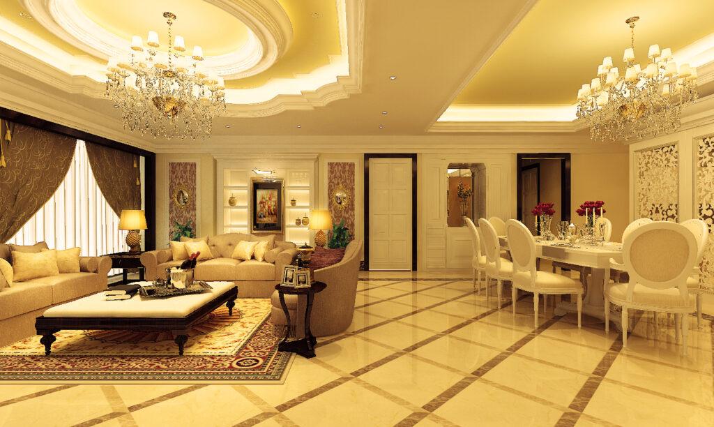 Đèn vàng thường được sử dụng trong các nội thất chung cư cổ điển