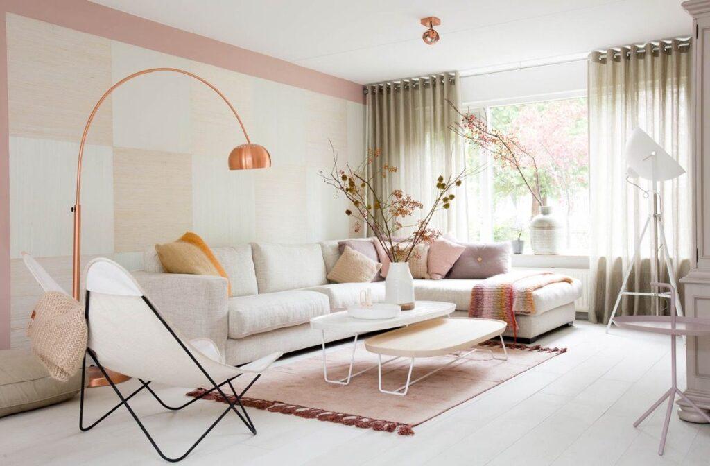 Sử dụng tone màu hồng chủ đạo dành cho căn phòng khách đặc biệt của bạn