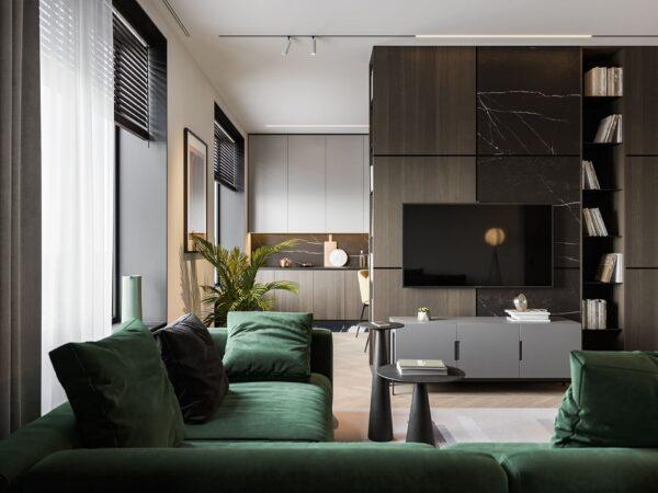 Màu xanh làm điểm nhấn hoàn hảo cho không gian phòng khách thêm ấn tượng