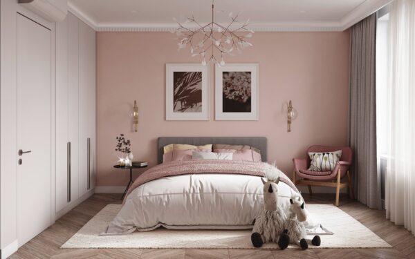 Phòng ngủ tràn ngập sắc hồng đầy ấn tượng