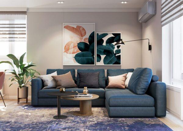 Không gian phòng khách với sự kết hợp màu sắc đầy thú vị