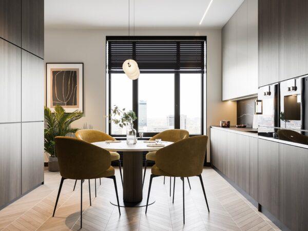 Màu vàng được lựa chọn để mang đến sự tươi mới cho khu vực nhà bếp