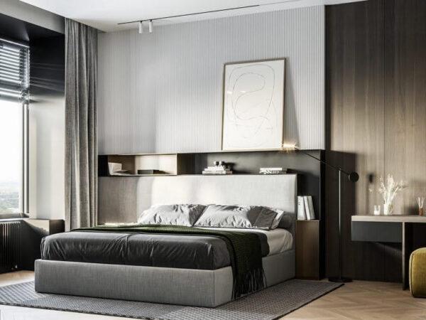 Phòng ngủ được thiết kế với màu tối, mang đến không gian thư giãn