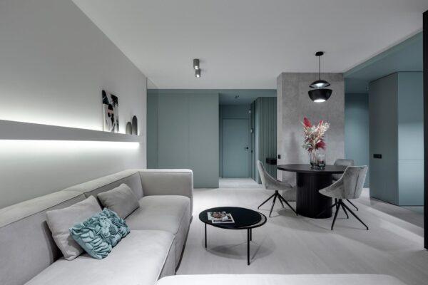Màu xanh dịu cho phòng khách cảm giác tươi mới