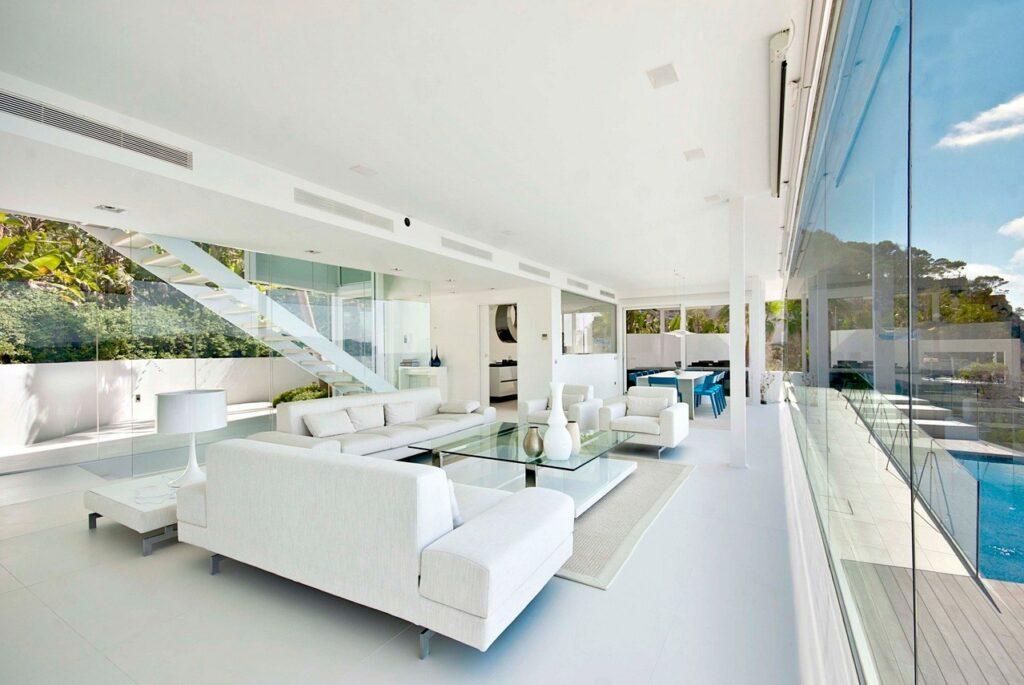 Thiết kế nội thất căn biệt thự hiện đại nghiên về các đường thẳng, cong, uốn lượn sang trọng, tinh tế trong từng chi tiết