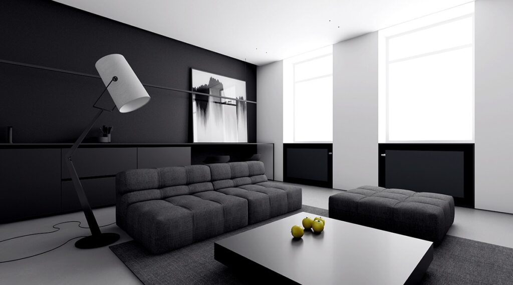 Thiết kế nội thất phòng khách tối giản không để đồ đạc bừa bộn, lung tung trong căn phòng