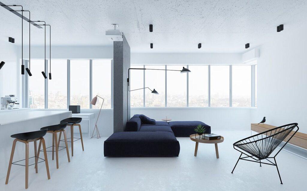 Thiết kế nội thất theo phong cách tối giản phù hợp với các căn hộ có diện tích nhỏ, căn hộ mini hoặc studio