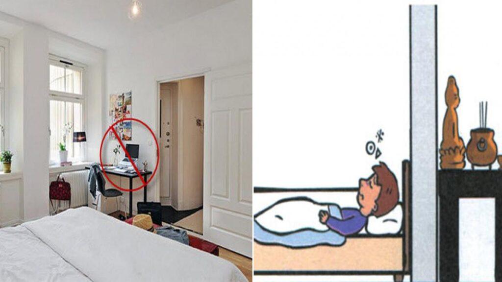 Giường ngủ đặt sau tường phòng thờ và bồn vệ sinh là điều cấm kỵ thiết kế nội thất phòng ngủ theo phong thủy