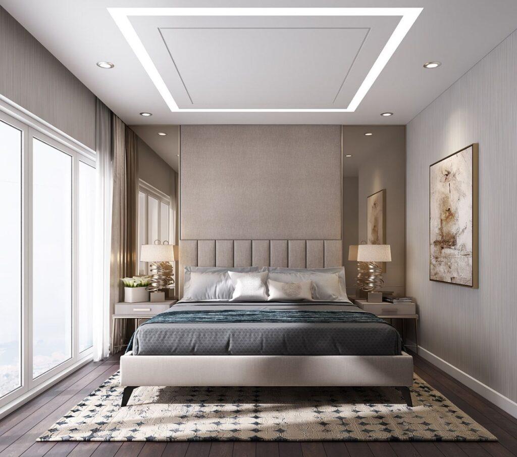 Nên thiết kế trần nhà căn phòng ngủ đơn giản, nhẹ nhàng, tinh tế và tránh các thiết kế cầu kỳ